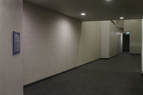 Walkway leading to the basement of the Aurora Melbourne Central development, and the new La Trobe Street lift and stairs