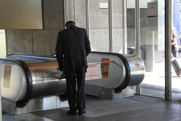Metro Trains staff reset the escalator speed at Flagstaff station to 'glacial'