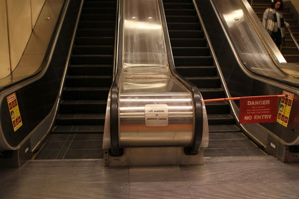 Escalator out of use at Flagstaff station outside of peak times