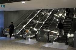 New escalators to street level at the Elizabeth Street end of Melbourne Central station