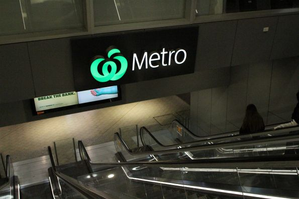The only 'Metro' signage at the Elizabeth Street end of Melbourne Central station is for the Woolworths supermarket