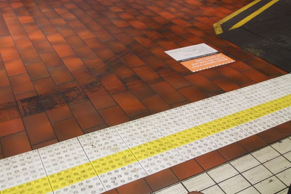 New tactile paving added to the Northern Loop platform at Melbourne Central station