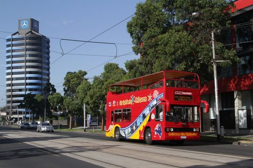 Melbourne City Sightseeing bus 9350AO on Sturt Street in Southbank