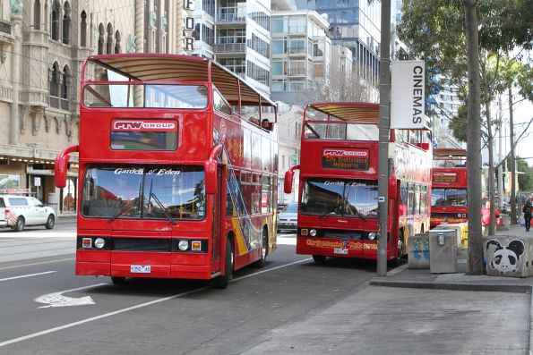 Trio of City Sightseeing buses outside Federation Square