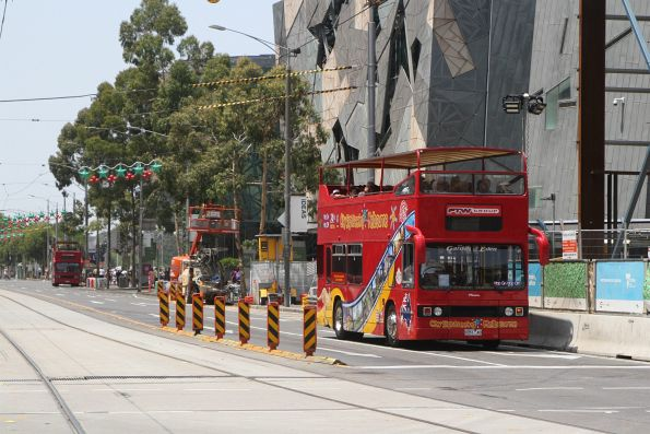 City Sightseeing Melbourne bus 9351AO heads west at Federation Square