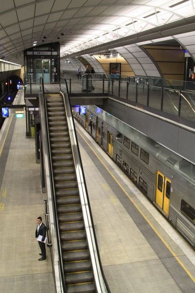 Down train stops for passengers at North Ryde station