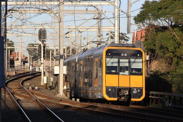 Tangara T57 emerges from the Flying Junctions with a North Shore train