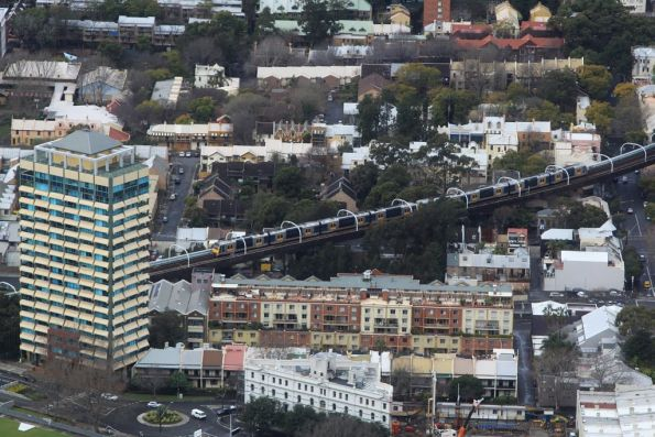 Tangara crosses the Woolloomooloo viaduct