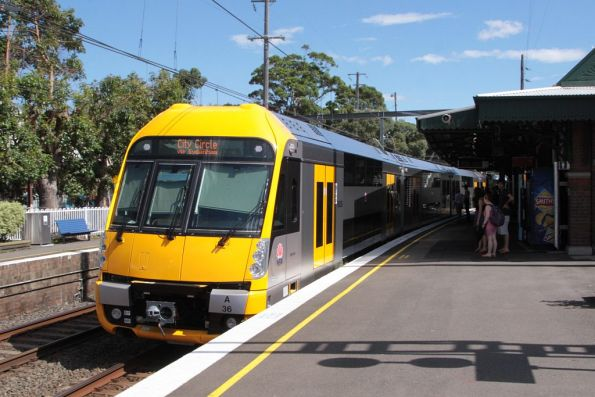 Waratah set A36 arrives at Marrickville on the up