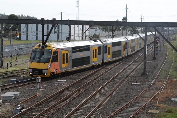 Waratah set A45 arrives into the terminating platform at Campbelltown station