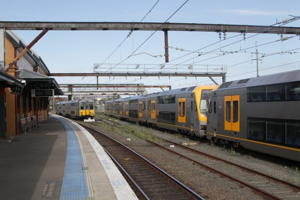 Mix of trains stabled for the weekend in the 'top' yard at Campbelltown