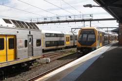 Millennium train set M29 and classmate arrive into the terminating platform at Campbelltown station