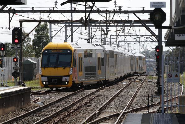 Waratah set A73 arrives into the terminating platform at Campbelltown station