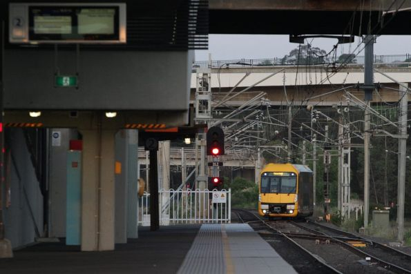 Waratah set A9 crosses over into the terminating platform at Macarthur