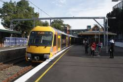 Waratah set A7 arrives into Marrickville on the up