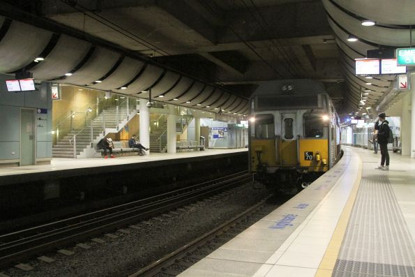 Set K70 arrives into Green Square station with a down service