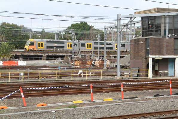 Waratah train traverses the flying junctions at Central