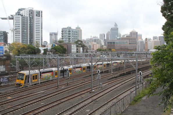 Tangara train emerges from the flying junctions at Central