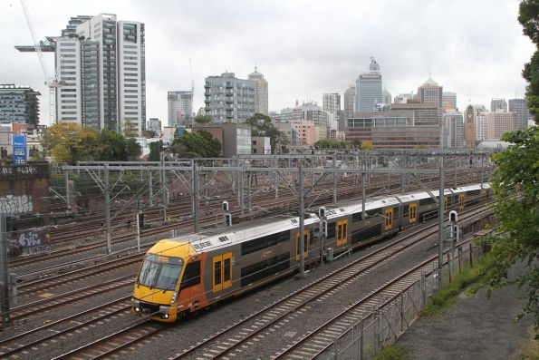 Waratah train emerges from the flying junctions at Central