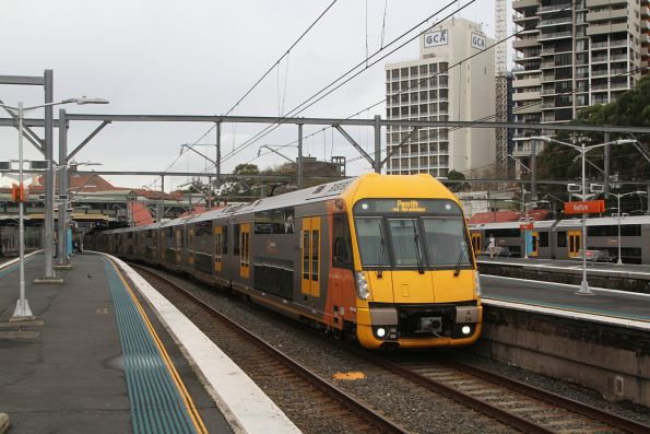Waratah set A34 arrives into Redfern station on a down Penrith service