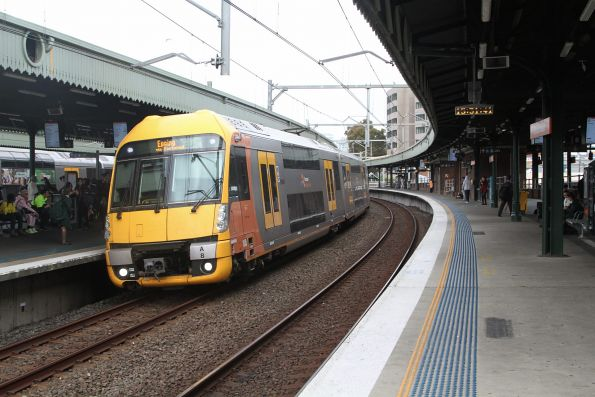 A8 leads a down Epping service into Strathfield station