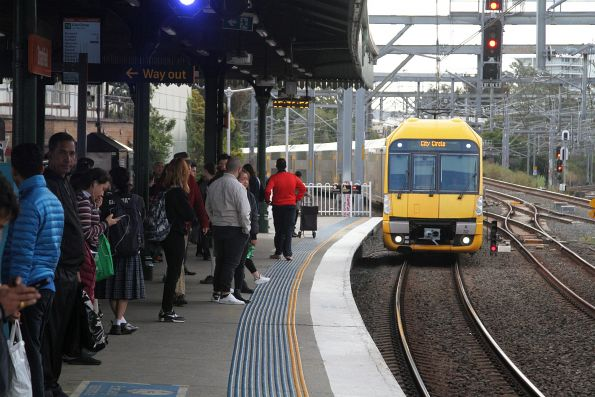 A32 leads an up service into Strathfield station