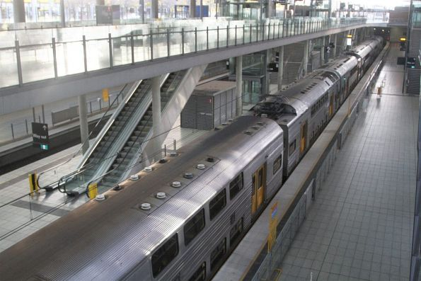 8-car S set stabled in the platform at Olympic Park station