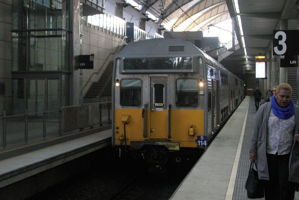 S114 arrives at Olympic Park station