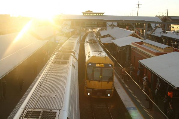 Waratah train arrives into Lidcombe station with an up service