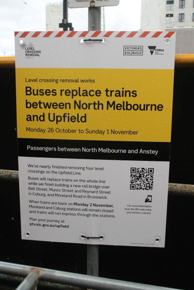'Buses replace trains between North Melbourne and Upfield' sign at Anstey station