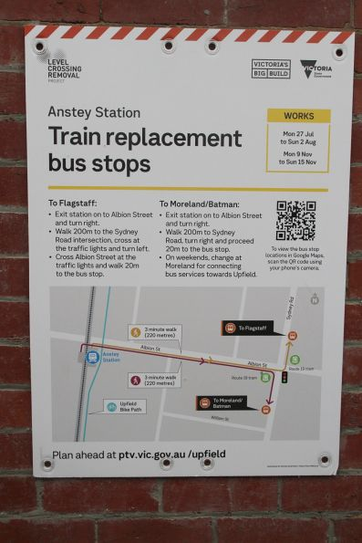 'Train replacement bus stops' sign at Anstey station