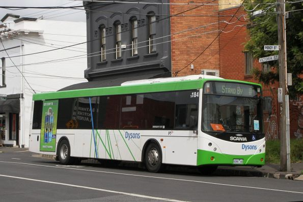 Dysons bus #184 0080AO on standby at Victoria Street, Brunswick
