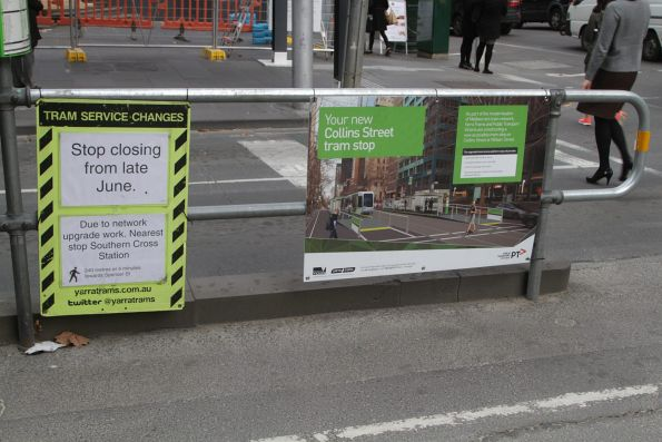 Collins and William Street tram stop works