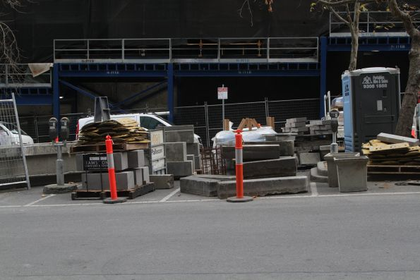Building supplies for the new platform stop at Collins and William Street