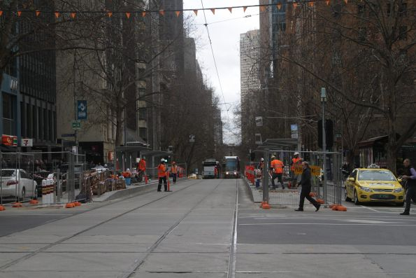 Work continues on the new platform stop at Collins and William Street