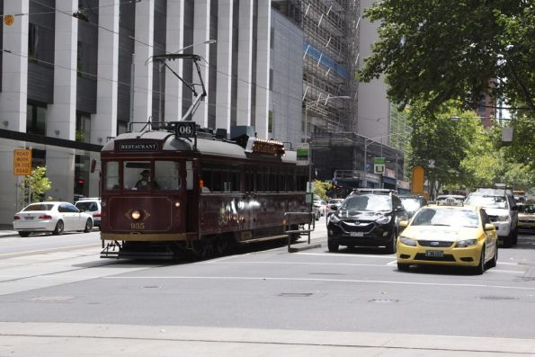 Restaurant tram SW6.935 heads south on William at Bourke Street