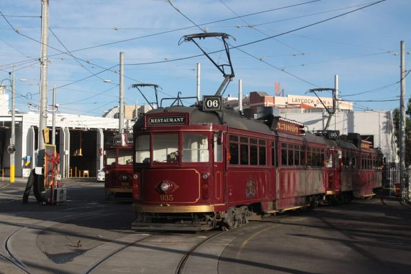 SW6.935 leads the row of stabled restaurant trams at Southbank depot