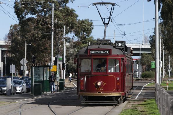SW6.935 brings up the rear of the trio of trams on this Sunday luncheon service
