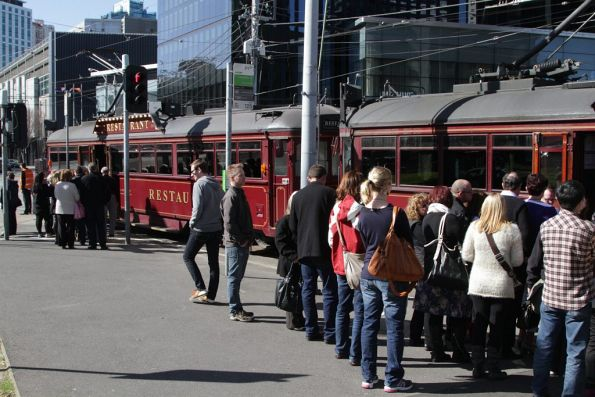Diners board the trio of restaurant trams