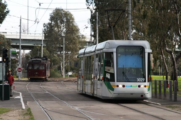 C.3027 on a route 109 service waits for restaurant trams to shunt back to the depot