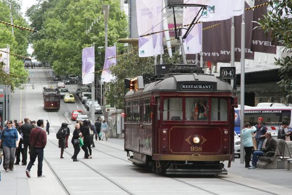 Pair of restaurant trams on the lunchtime run down the Bourke Street Mall, led by SW6.938