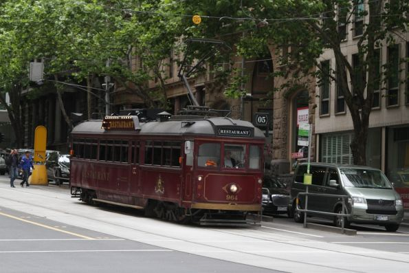 Restaurant tram SW6.964 southbound at William and Collins Streets