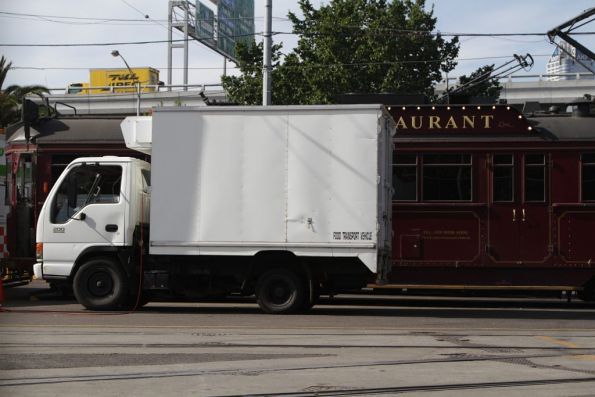Refrigerated truck delivering food to the trams parked at Southbank depot