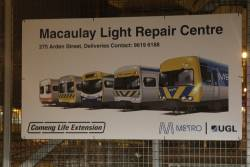 'Comeng Life Extension' project signage at the Macaulay Light Repair Centre