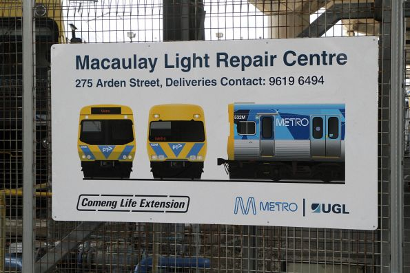 'Comeng Life Extension' signage outside the Macaulay Light Repair Centre