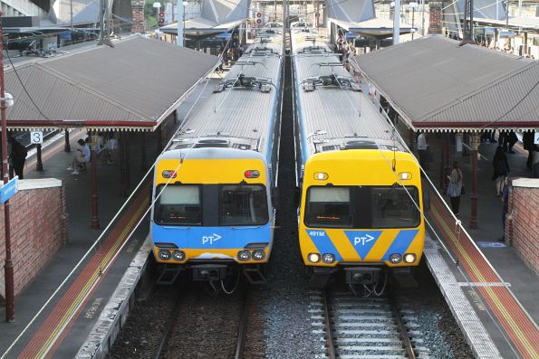 'Original' Alstom Comeng alongside life extension set 491M at North Melbourne