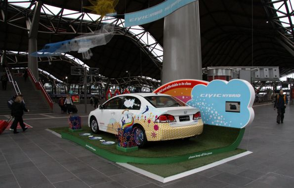 Honda advertising stand in the station concourse