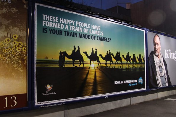 'Is your train made of camels?' advert at North Melbourne