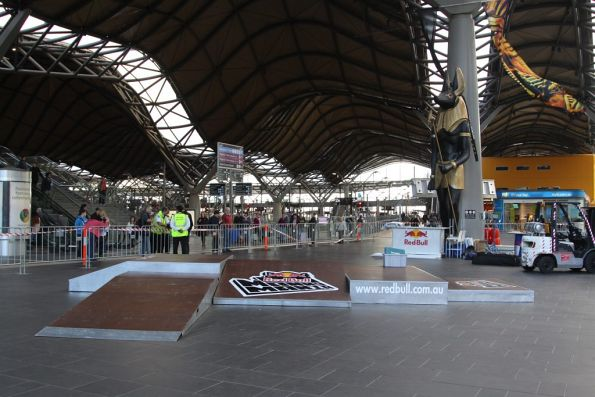 Skateboarding display blocking the main entrance to Southern Cross Station