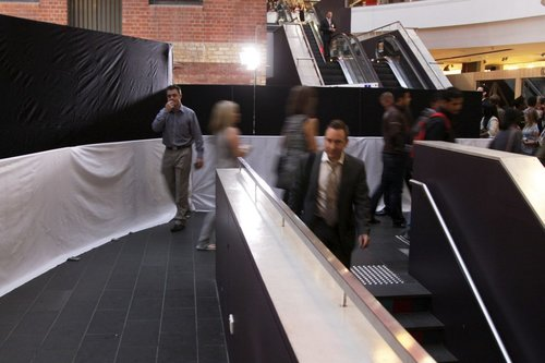 Narrow pathway to access Melbourne Central station, due to a film premiere